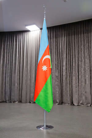 Azerbaijan flag fluttering in the wind .National Flag. Azerbaijan