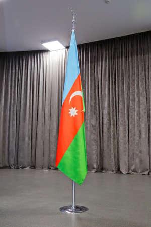 Azerbaijan flag fluttering in the wind .National Flag. Azerbaijan 版權商用圖片 - 131857816