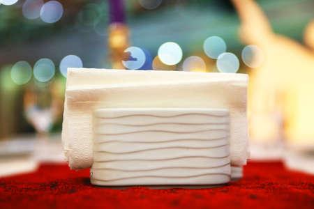 Ceramic pepper napkin . Set of modern ceramic holders with paper napkins