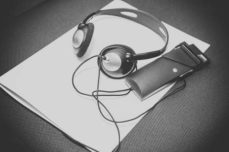 A set of headphones for simultaneous translation during negotiations in foreign languages. headphones used for simultaneous translation equipment simultaneous interpretation equipment