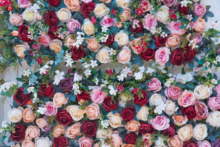 beautiful flower background, colorful nature .Beautiful roses flowers for wedding scene. Vintage effect. Many flowers in gentle red and white tones as a background for any your art project. Banco de Imagens
