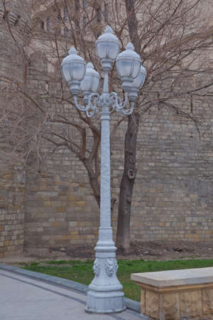White Lanterns in the garden. The backdrop is Bush that little light. Magic street lamp close-up with copyspace. Warm lantern light on a blurry background .A little street light lit in the garden . Foto de archivo