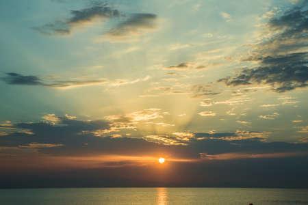 The sunset, the sea and the clouds. Caspian Sea. Azerbaijan Baku Beautiful sunset in yellow as background. Azerbaijan nature