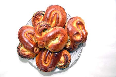 Close up of traditional Swedish cinnamon sweet buns . soft pretzels recipe . sweet bread