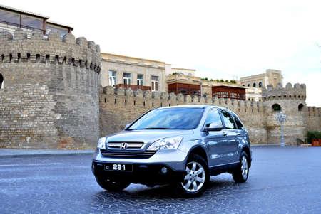 Azerbaijan Baku . 07.06.2020 . Metallic Honda CR-V, 2.4 L, 2008 . Popular jeep car parked outdoors . Motor car Honda CR-V in the city street Icheri seher backgrounds .