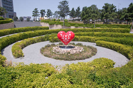 I love Baku's park. Model of a red heart . Big heart . A circular path to reach the heart .