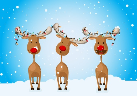 Three reindeers with Christmas lights on their horns. Vector