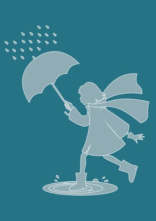 Girl with umbrella walking in the rain Vector