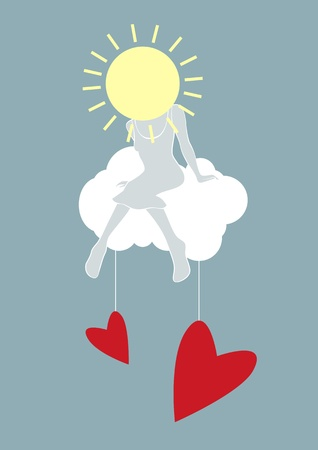 Girl sitting on a cloud with red hearts hanging. Vector