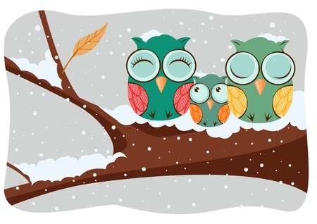 Owls family sitting in a tree on a winter background Stock Vector - 11625536