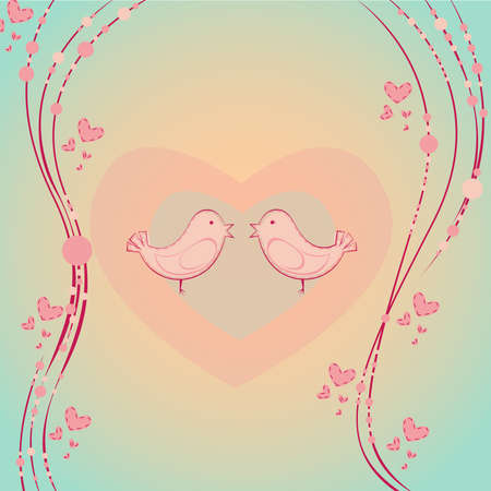 Valentines Day illustration with two cute birds in pastel colors Vector