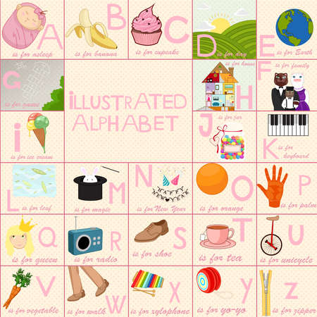 english girl: Illustrated alphabet for children with colorful drawings.