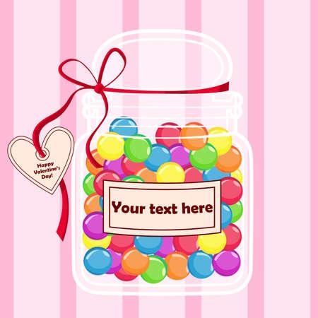 enamorados caricatura: Caramelos de colores en un recipiente para las ocasiones especiales y regalos. Vectores