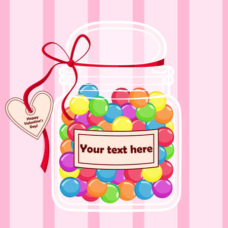 Colorful candies in a jar for special occasions and gifts. Vector