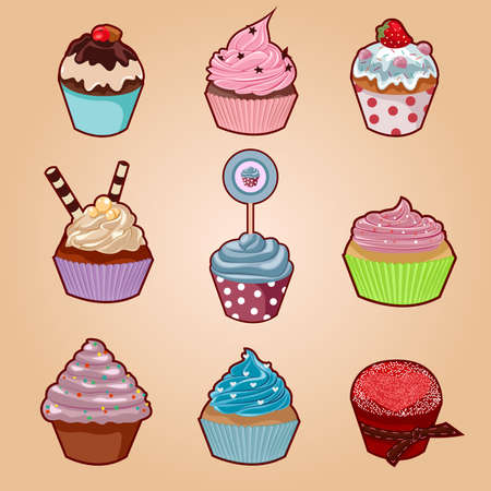 Cupcake set with different shapes and flavors. Vector