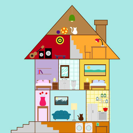 House interior in a cartoon, cute style with furniture and accessories Vector