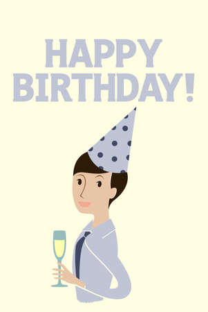 Happy birthday card with a man celebrating Stock Vector - 12856860