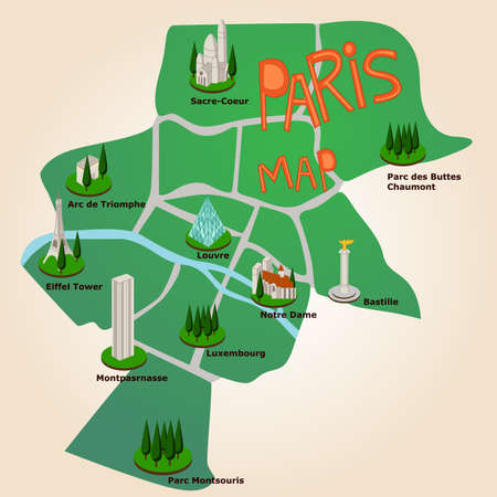 Paris tourist map with the most imporant places to visit. Vector