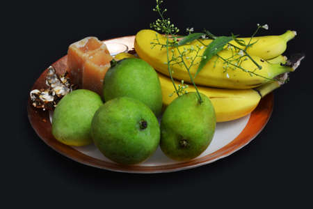 ugadi, telugu new year plating with fruits Stock Photo