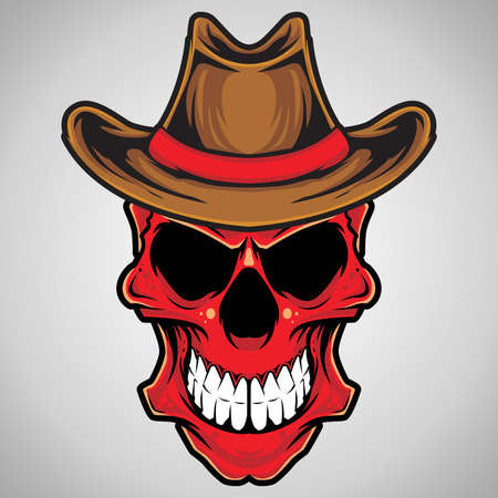 Vector Illustration   Cowboy Skull  Vector