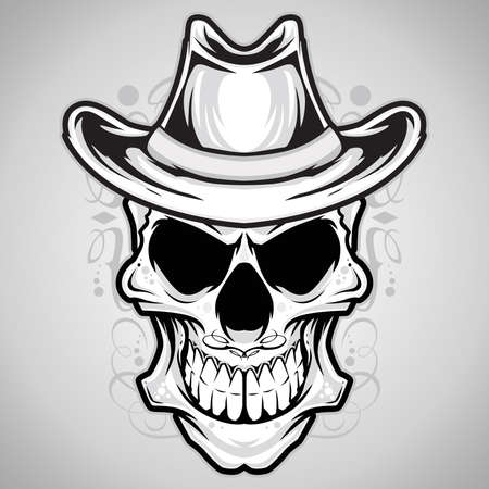 skull vector: Vector Illustration   Cowboy Skull  Illustration