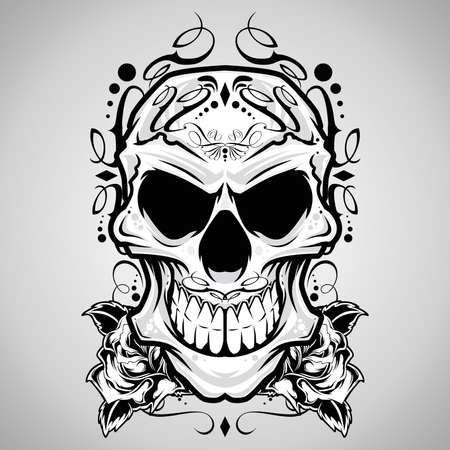 rose tattoo: Vector Illustration   Decorative Skull