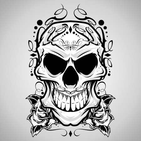 skull and flowers: Vector Skull Ilustraci�n decorativa