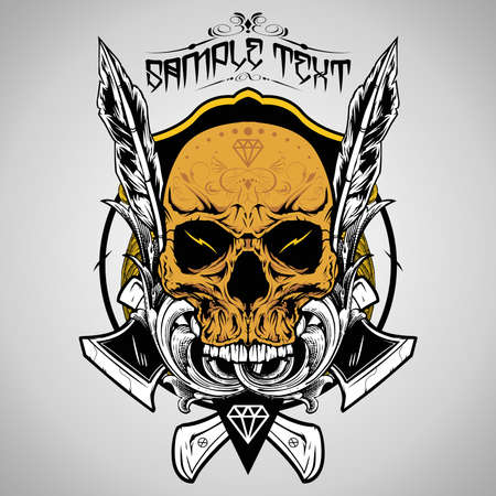 skull tattoo: Schedel Vector Illustratie