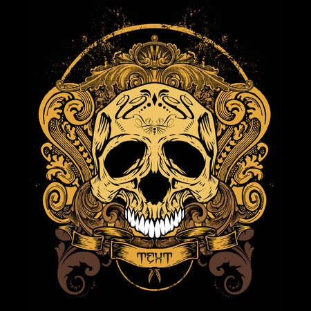 mexican art: Illustrazione vettoriale: loghi design T-shirt Teschio