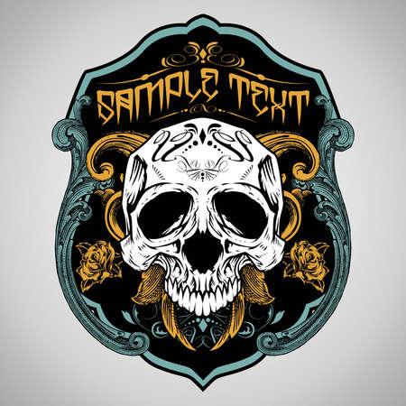 skull and flowers: Ilustraci�n vectorial: Skull T-shirt de dise�o de logos Vectores