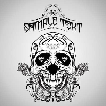 human skull: Vector Illustration : Skull T-shirt design logos  Illustration
