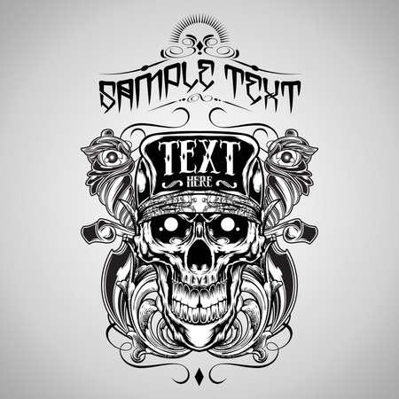 skull and flowers: Ejemplo del vector: del cr�neo de camisa de T-logos de dise�o de Vectores