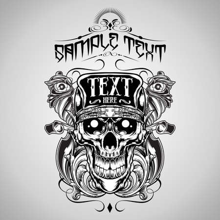 skeleton skull: Vector Illustration : Skull T-shirt design logos  Illustration