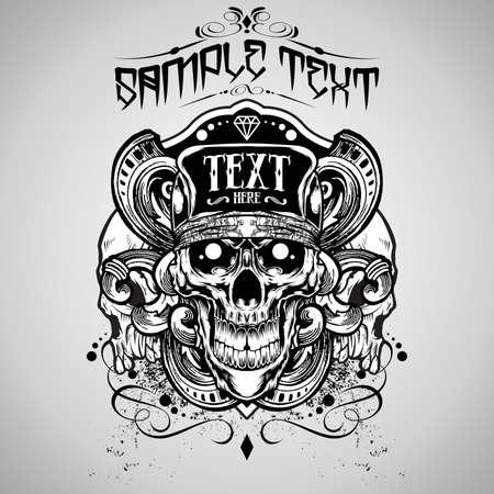 skull and flowers: Ilustraci�n vectorial: Skull