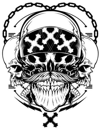 tattoo drawings: Skull Gangster Illustration