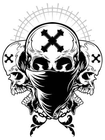 calavera: Cráneo del gángster Ilustración