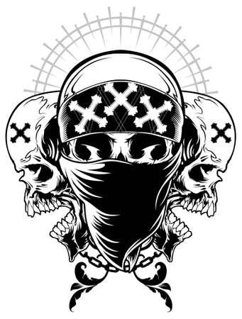 calaveras: Cráneo del gángster Ilustración