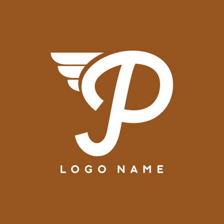 Script P letter with wings logo template for business branding