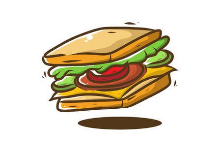 Sandwich fast food illustration drawing design