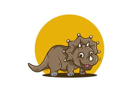 Cute illustration of smiling triceratops dinosaur