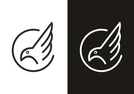 Line art style of bird black and white design