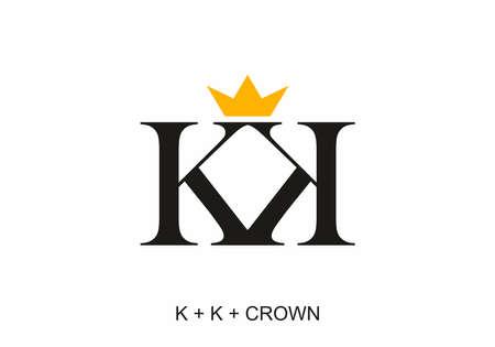 Black color of KK initial letter with gold crown design