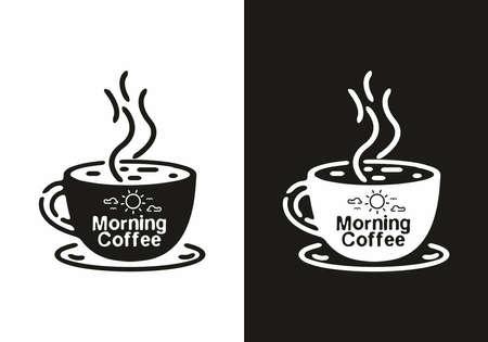 Black and white morning coffee line art illustration design