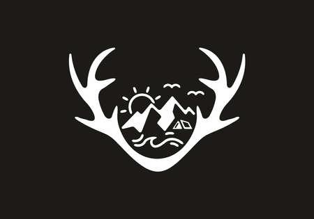 Nature illustration in a horn shape design