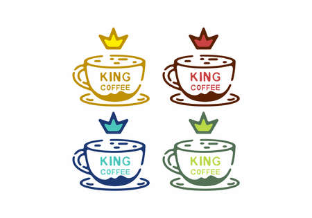 Colorful line art illustration of coffee and crown design