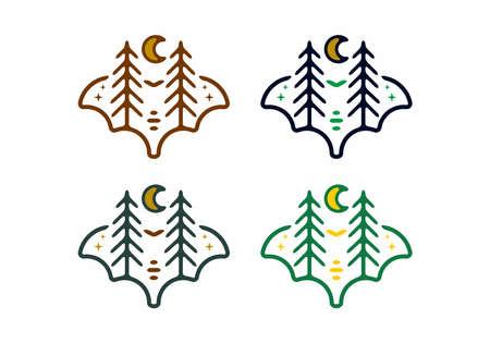 Colorful vintage illustration of pine trees and moon design Vektorgrafik