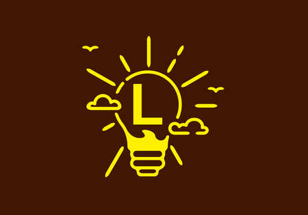 Yellow color of L initial letter in bulb shape with dark background design Vetores