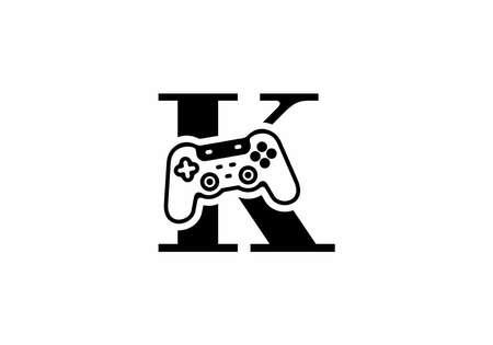 K initial letter with joystick shape design