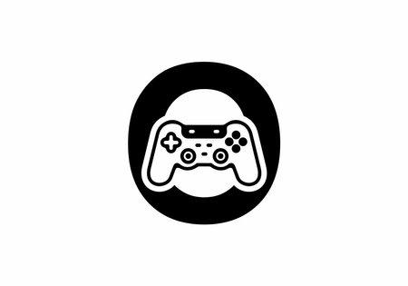 O initial letter with joystick shape design