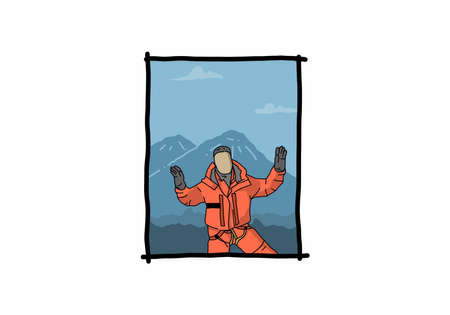 digital color drawing of mountaineer design